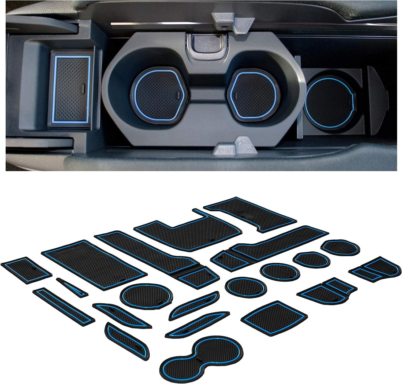 Center Console Liner Mats CupHolderHero for Honda Civic Accessories 2016-2020 Premium Custom Interior Non-Slip Anti Dust Cup Holder Inserts Door Pocket Liners 21-pc Set Hatchback Red Trim