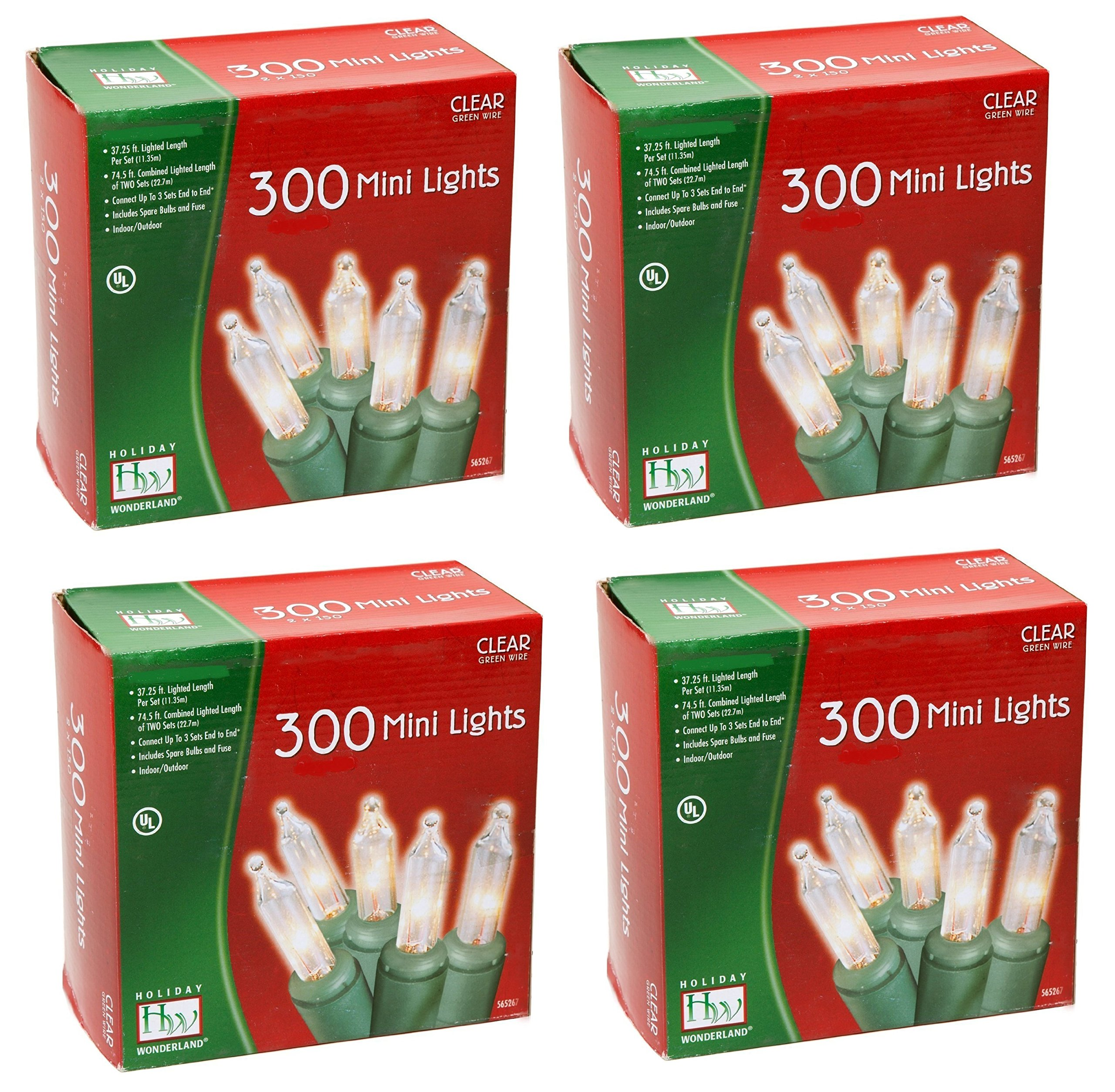 Noma/Inliten Holiday Wonderland 300-Clear Mini Lights, Green Wire (Pack of 4)