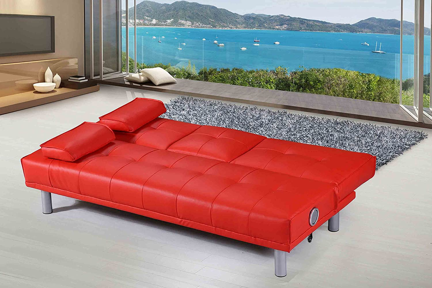 Modern leather sofa bed - New Manhattan Modern Sleep Design Faux Leather Sofa Bed With Bluetooth Stereo Speakers Available In Red Amazon Co Uk Kitchen Home