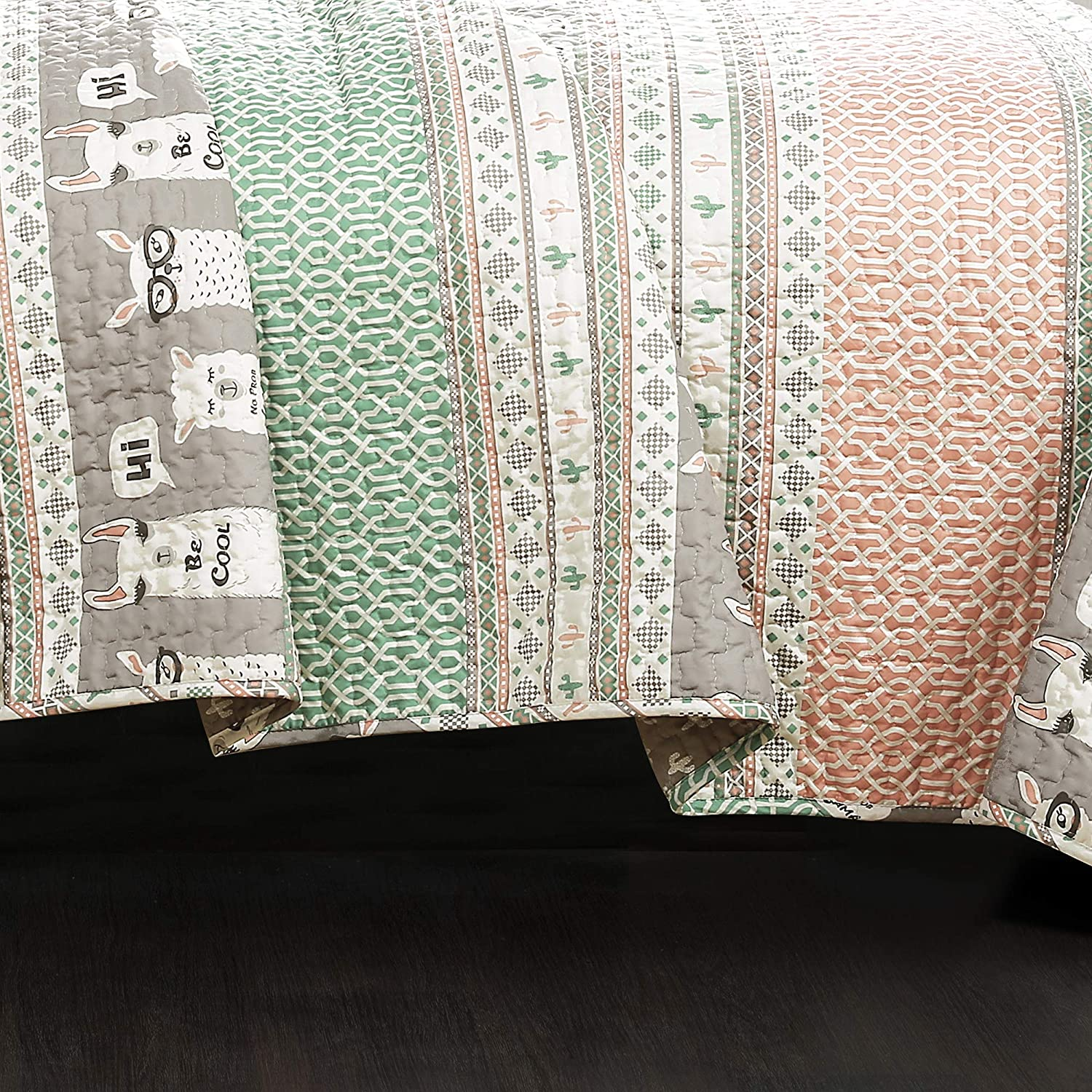 Pink and Turquoise Full Queen Lush Decor Llama Striped Quilt Reversible 5 Piece Kids Bedding Set