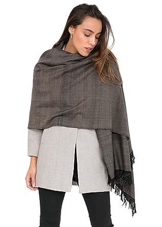 20df59ae4 likemary Merino Wool Wrap Shawl & Blanket Scarf Fairtrade Pashmina Textured  Herringbone Stole Handwoven Black 72