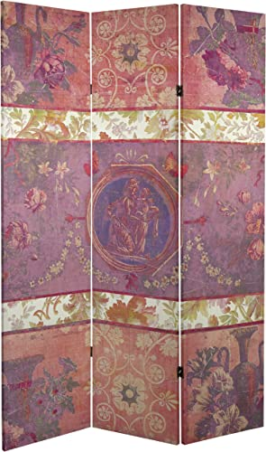 ORIENTAL Furniture Tall Double Sided Vintage Emblem Canvas Room Divider, 6 4 x 6
