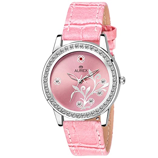 Aurex Analouge Pink Dial Watch Water Resistant Pink Color Strap Watch for Women/Ladies/Girls (AX-LR529-PKPK)
