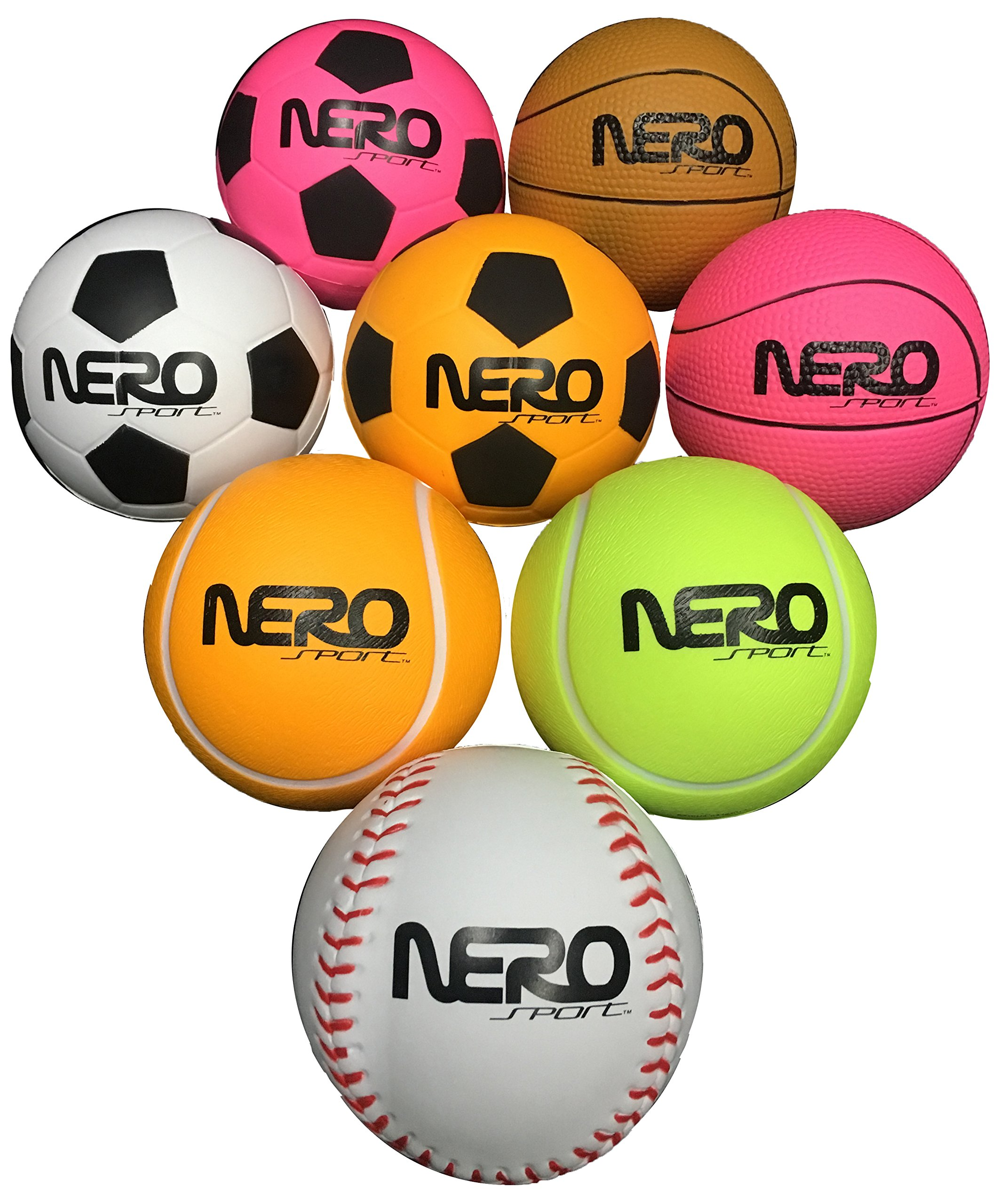Nero NS200 High Bounce Rubber Toy Ball 3.5 inch Different Styles Tennis Soccer And Basketball Great For the Streets Park Back Yard Agility Ball Bulk Price Birthdays (6pckmix)