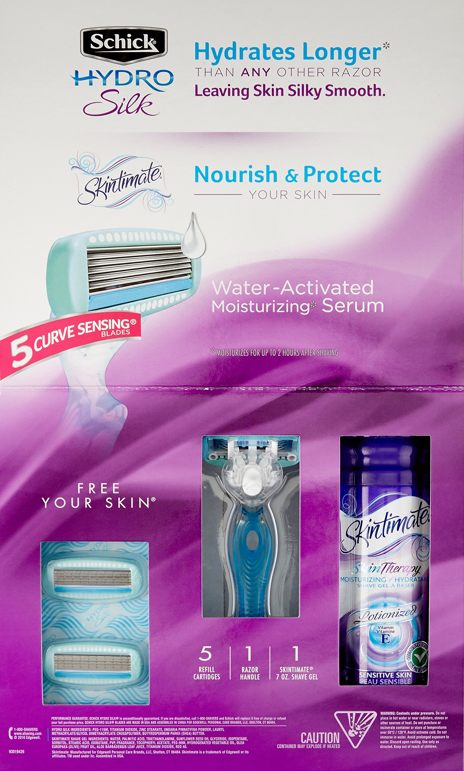Schick Hydro Silk Shaving Starter Gift Set for Women with Shower Ready Razor Refill Blades and Skintimate Skin Therapy Shave Gel for Sensitive Skin by Schick (Image #6)