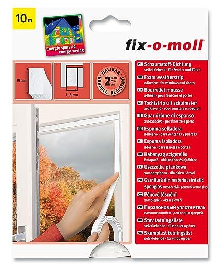 Suki - Burlete aislante para puertas y ventanas (espuma de poliuretano, adhesivo), color blanco