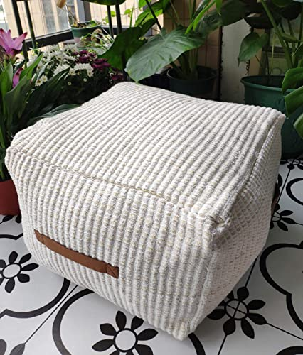 RISEON Boho Hand Woven Contemporary Cotton Linen Fabric Pouf Cover Footstool Ottoman Poufs Unstuffed-Square Floor Cushion Footrest Cover