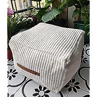 RISEON Boho Hand Woven Contemporary Cotton Linen Fabric Pouf Cover Footstool Ottoman Poufs Unstuffed-Square Floor…