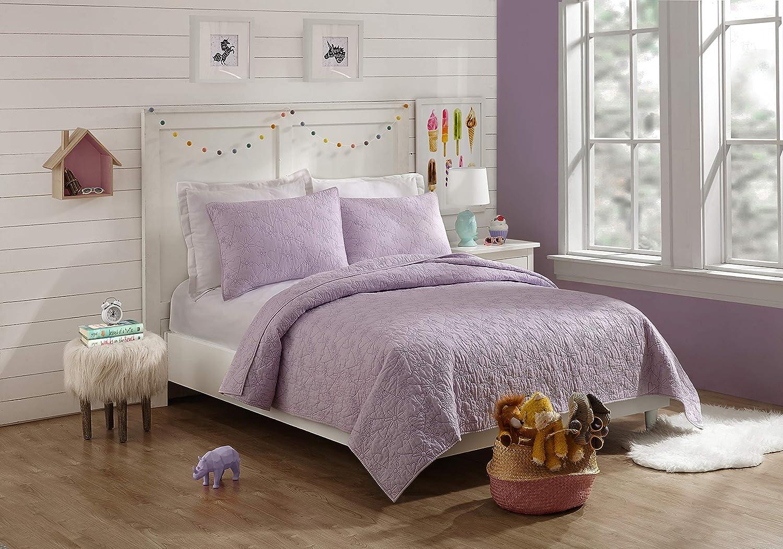 Jessica Simpson Flower Heart Quilt Set, Full Queen, Purple