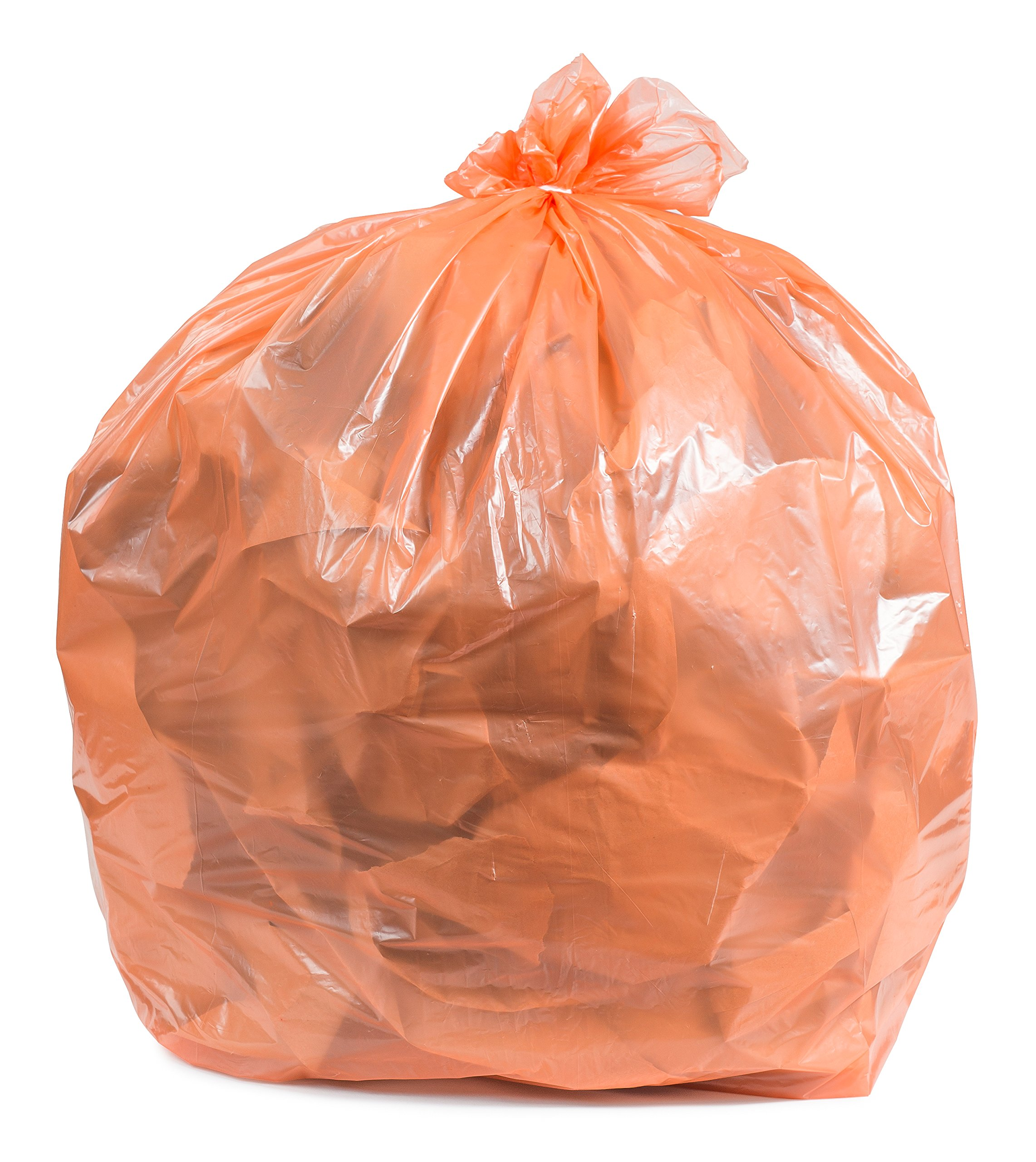 Plasticplace Orange 31-33 Gallon Trash Bags, 100 / Case 1.5 Mil by Plasticplace