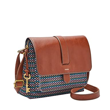 795a262f9 Fossil Women's Small Kinley Crossbody Leather Cross Body Bag Satchel -  Teal/Brown