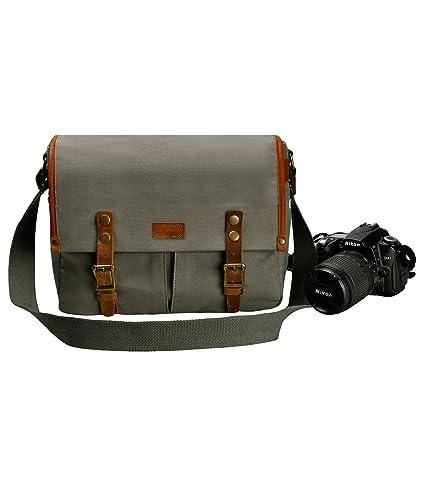 d4fa56a962 Unisex Vintage Vera Pelle e Tela Borsa per Fotocamera Borsa Messaggero per  Fotocamera e Lente DSLR (Grigio): Amazon.it: Elettronica