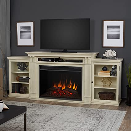 Real Flame 8720E DSW Tracey Grand Entertainment With Electric Fireplace,  Large, Distressed White