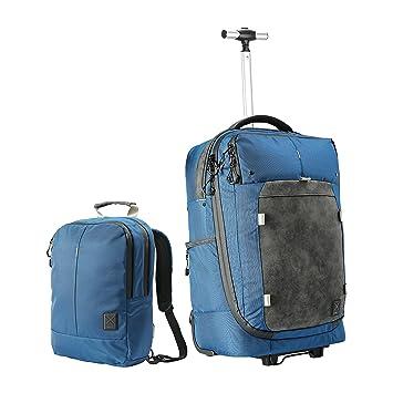Híbrido Equipaje de mano con ruedas en la carretilla/Mochila convertible y bolso para diario. Aprobado para volar en cabina. (Nettuno Blue): Amazon.es: ...