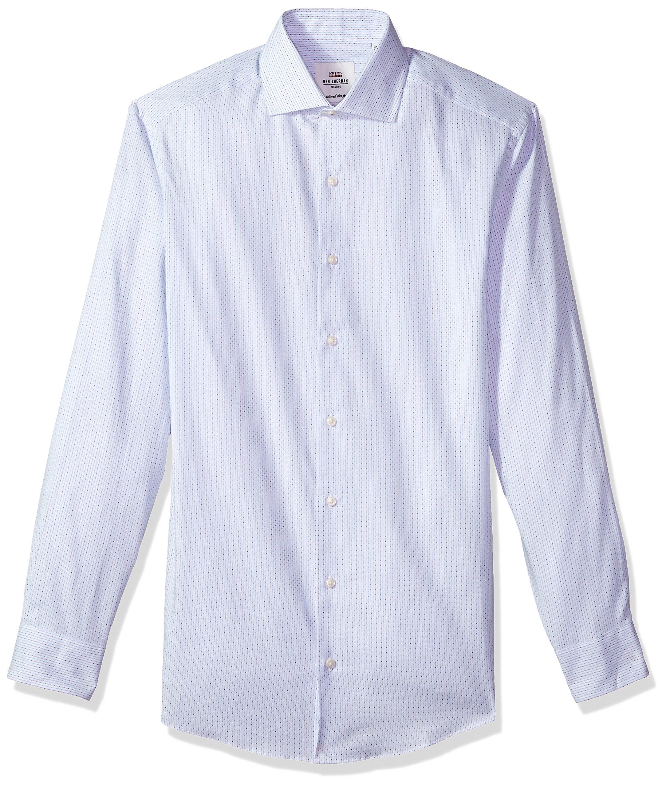 Ben Sherman Men's Teal Dot Dobby Slim Fit Dress Shirt, White, 15'' Neck 34/35'' Sleeve