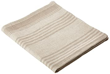 Linenme Toalla de baño Linum de lino grueso de rayas. Color marrón natural 70 x 130 cm.: Amazon.es: Hogar