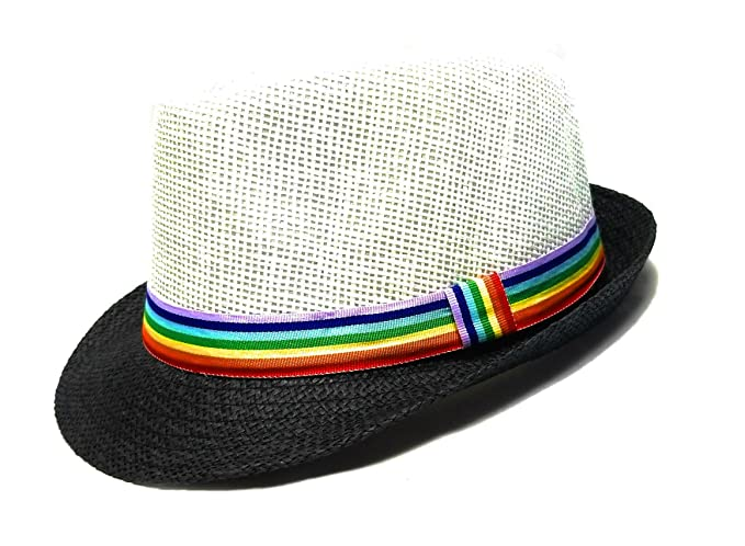 a975032b15371 Image Unavailable. Image not available for. Color  White Fedora Hat Rainbow  Band Black Brim Pride Accessories LGBT ...