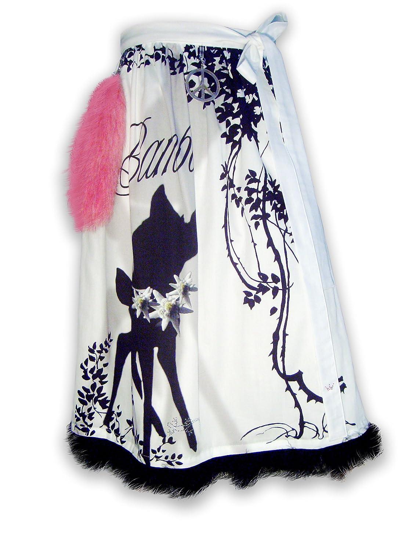 Schürzenliesl, Motiv Dirndl Schürze Bambi, Strass, schwarze Chiffonborte und farblich passendem Schweif