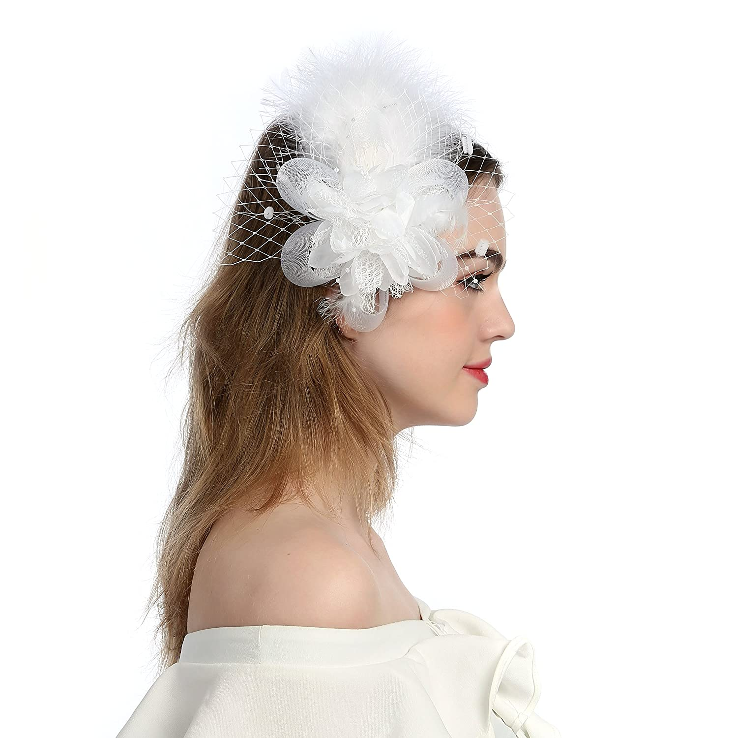 f26af4bd235 Zivyes Fascinators Hat Wedding Hat Flower Mesh Feathers Tea Party ...