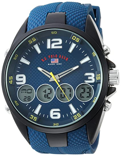 US Polo Assn. Mens Analog-Quartz Watch with Rubber Strap, Blue, 27 (Model: US9598)