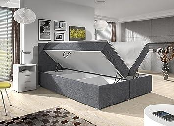 Wohnen Luxus Boxspringbett 140x200 Bettkasten Grau Stoff Hotelbett