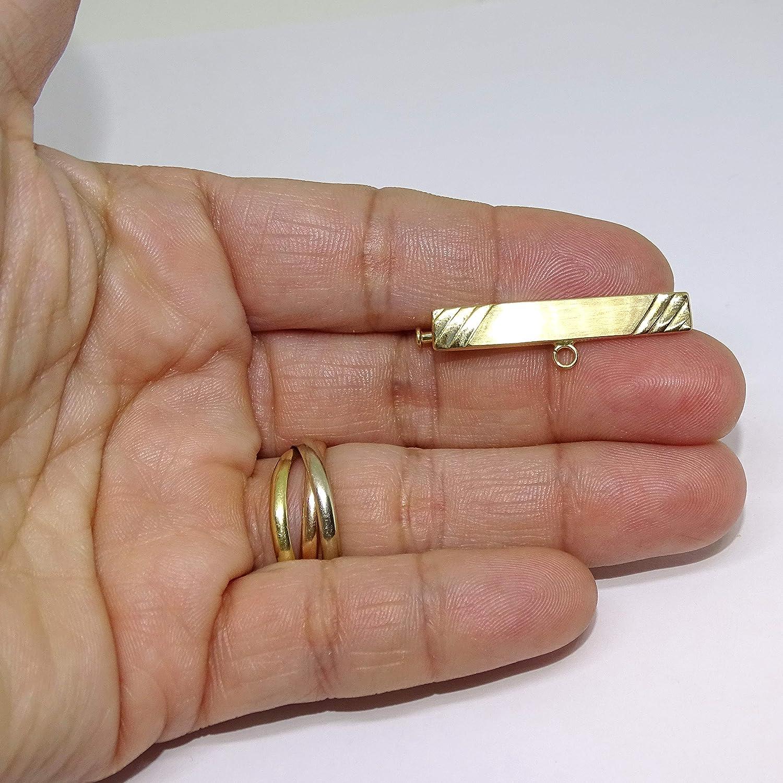100/% Personnalisable 1,70 g dor de 18 carats. 3,30 cm de Long par 1 cm de Haut Never Say Never Broche en Or 18 carats avec Fermeture de s/écurit/é