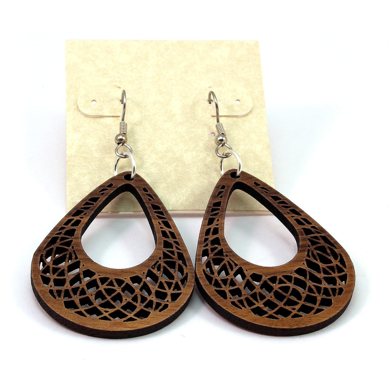 Dream Catcher Teardrop Earrings made of Sustainable Walnut Wood Small Wooden Hook Dangle Drop Earrings