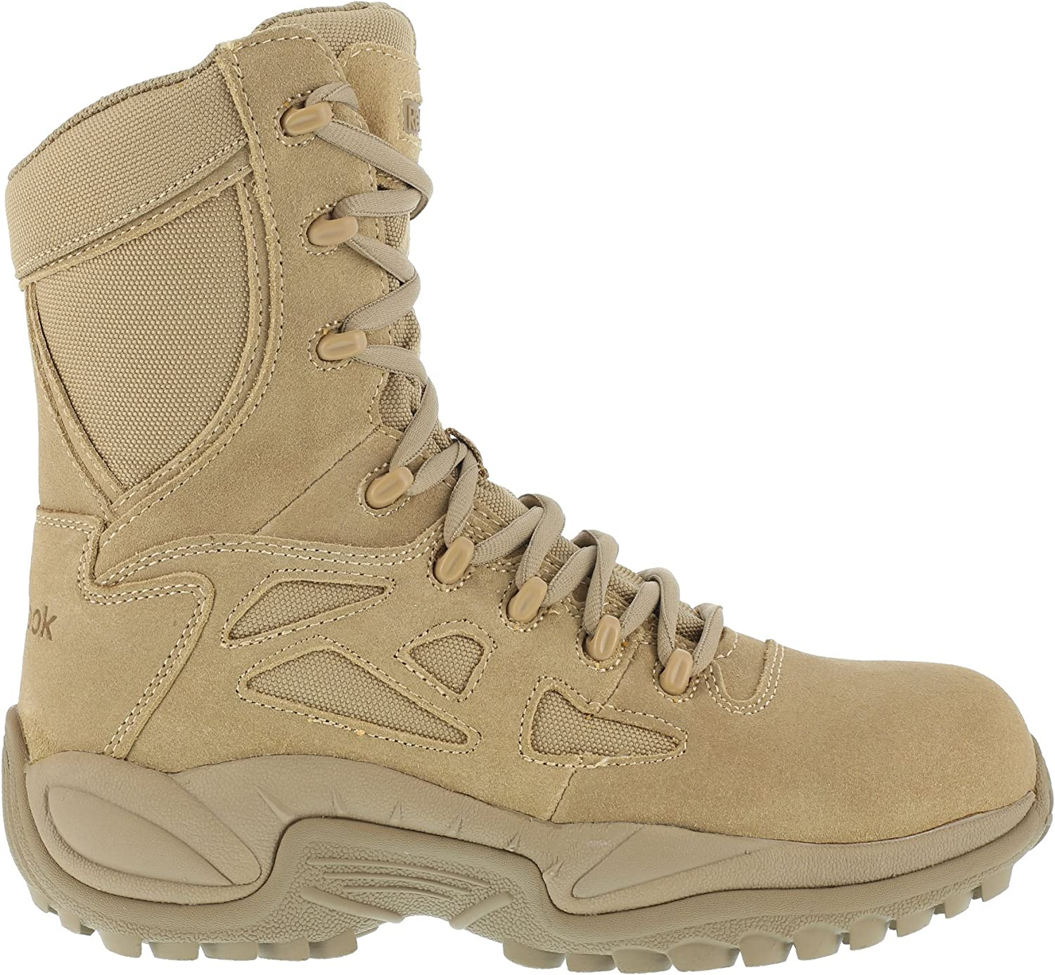 7 Tan Reebok Work Womens Rapid Response RB 8 Inch Composite Toe Side Zip Casual Work /& Safety Shoes