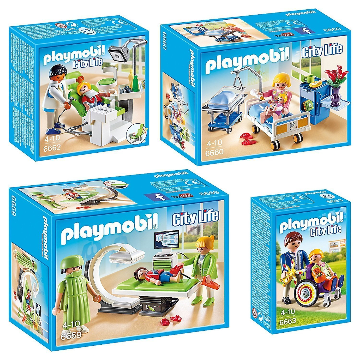 Playmobil City Life 4 pcs. Set 6659 6660 6662 6663 X-Ray Room + Dentist with Patient + Child in Wheelchair + Child in Wheelchair