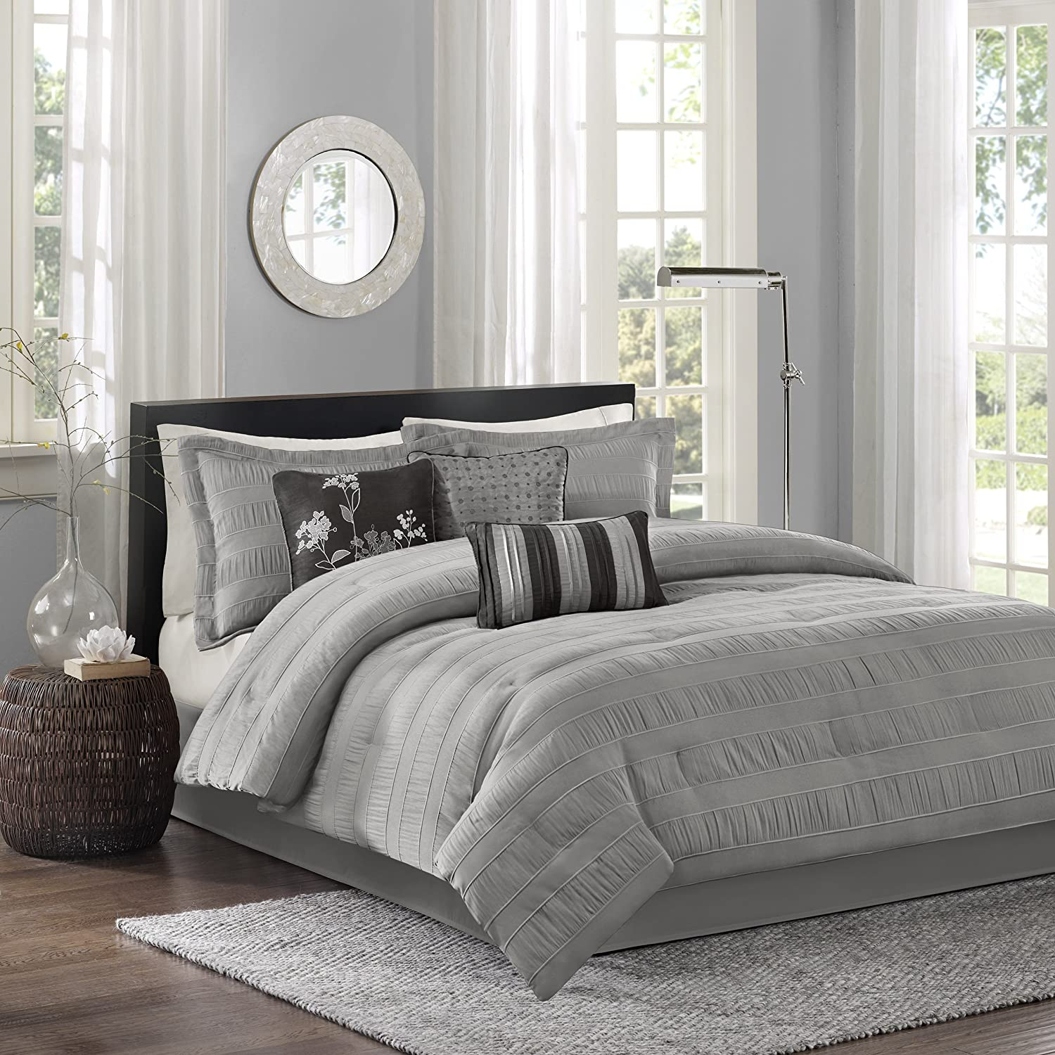 Madison Park Hampton 7 Piece Comforter Set, Queen, Grey