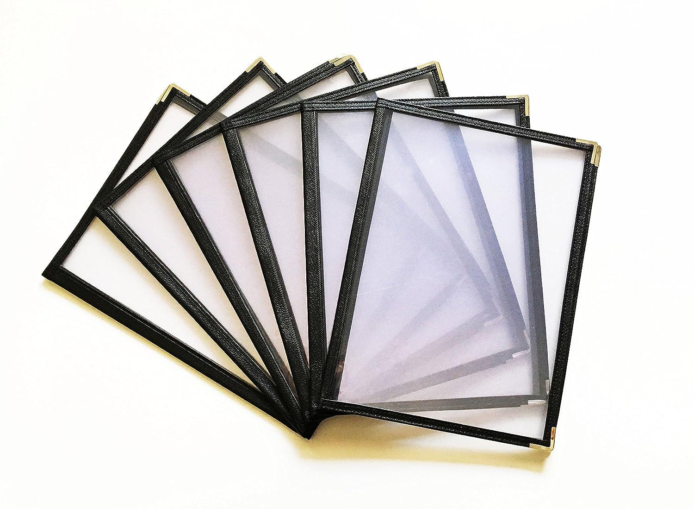 Double Stitched Leatherette 25 Pack High Gauge Vinyl /& Gold Corners Happypinto 2 Pages 4 Views, Black 8.5 x 11 Restaurant Menu Covers