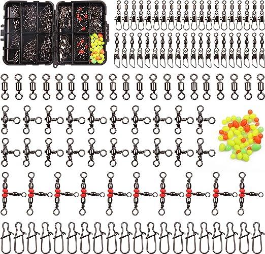 Shaddock 12stk Edelstahl Draht Angeln Leaders Mit Wirbel Druckkn/öpfen Perlen hochfesten Angeln Draht Rigs Trace Angelger/äte