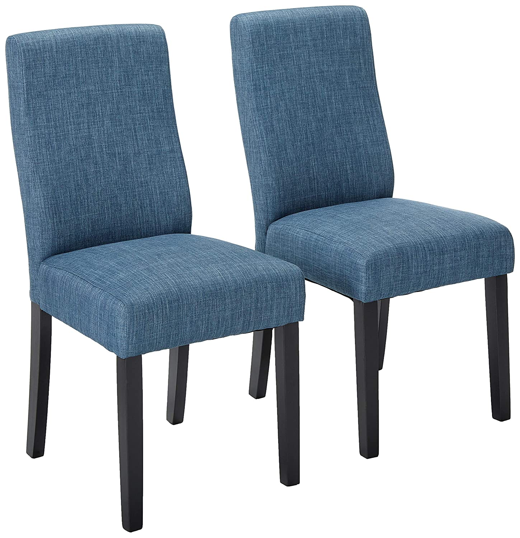 Amazon com christopher knight home 295198 heath indigo fabric dining chairs set of 2 blue chairs