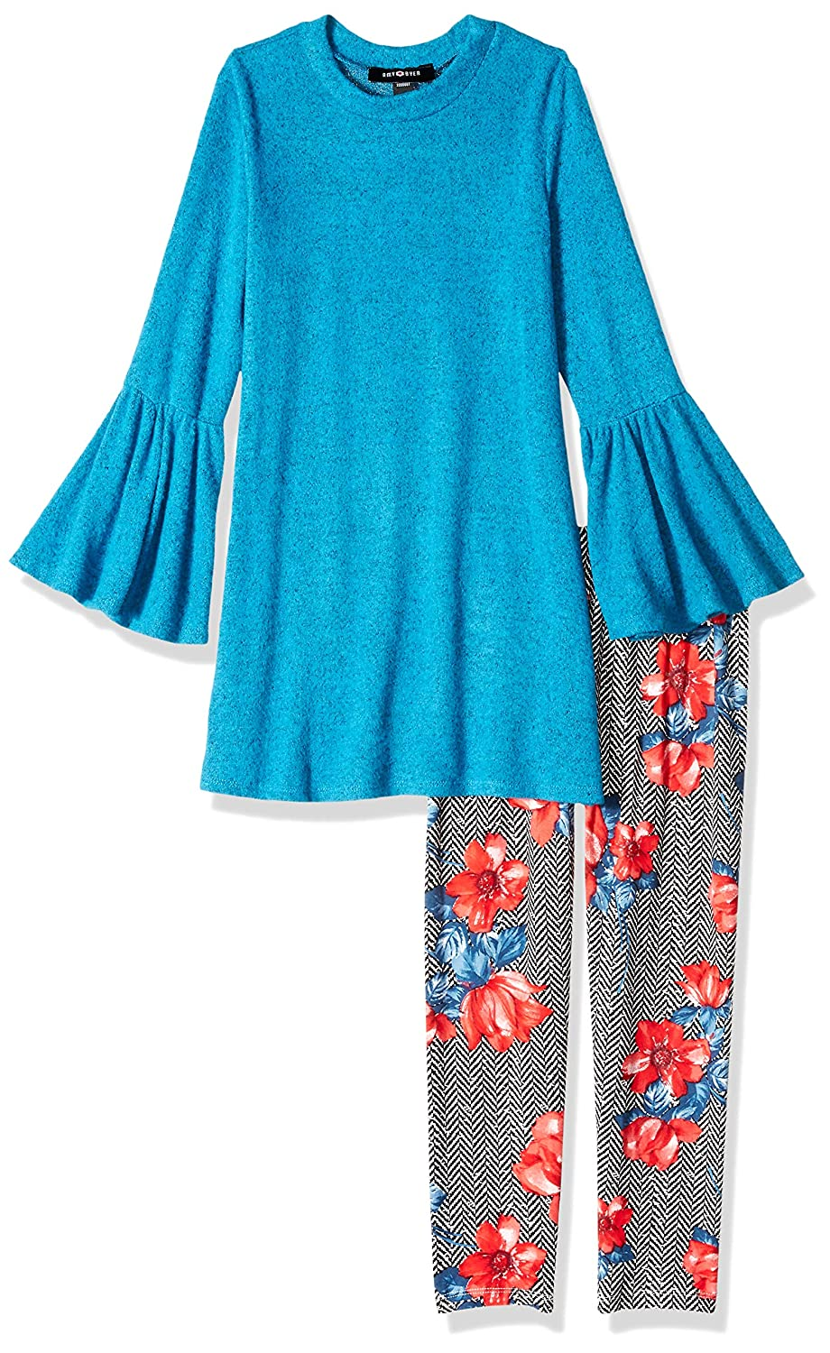 Amy Byer Girls Big 7-16 Long Bell Sleeve Blouse with Print Legging