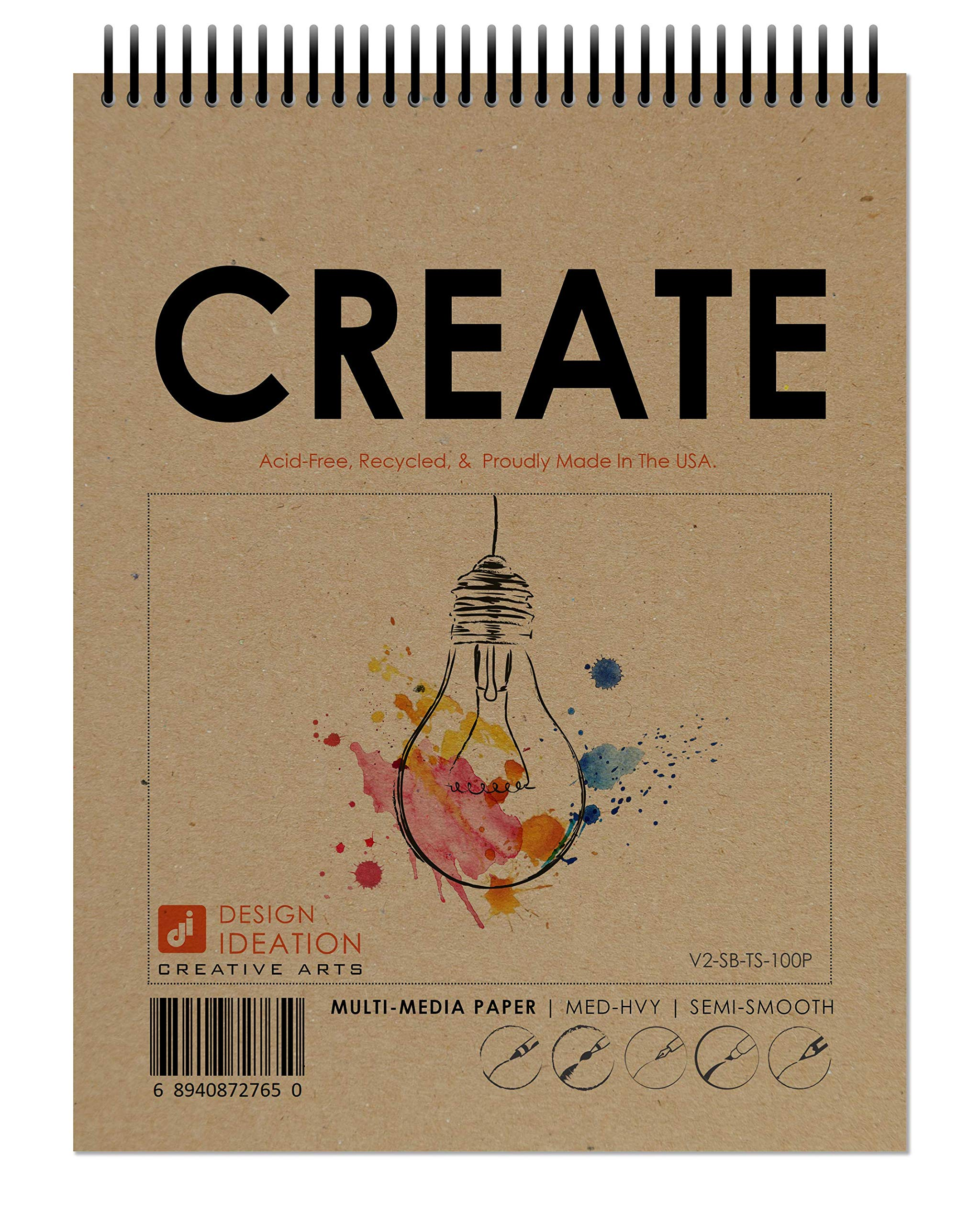Design Ideation Creative Project Book. Spiral Bound multi-media paper book for Pencil, Ink, Marker, Charcoal and Watercolor Paints. Great for Art, Design and Education. (8.5'' x 11'') (10) by Design Ideation