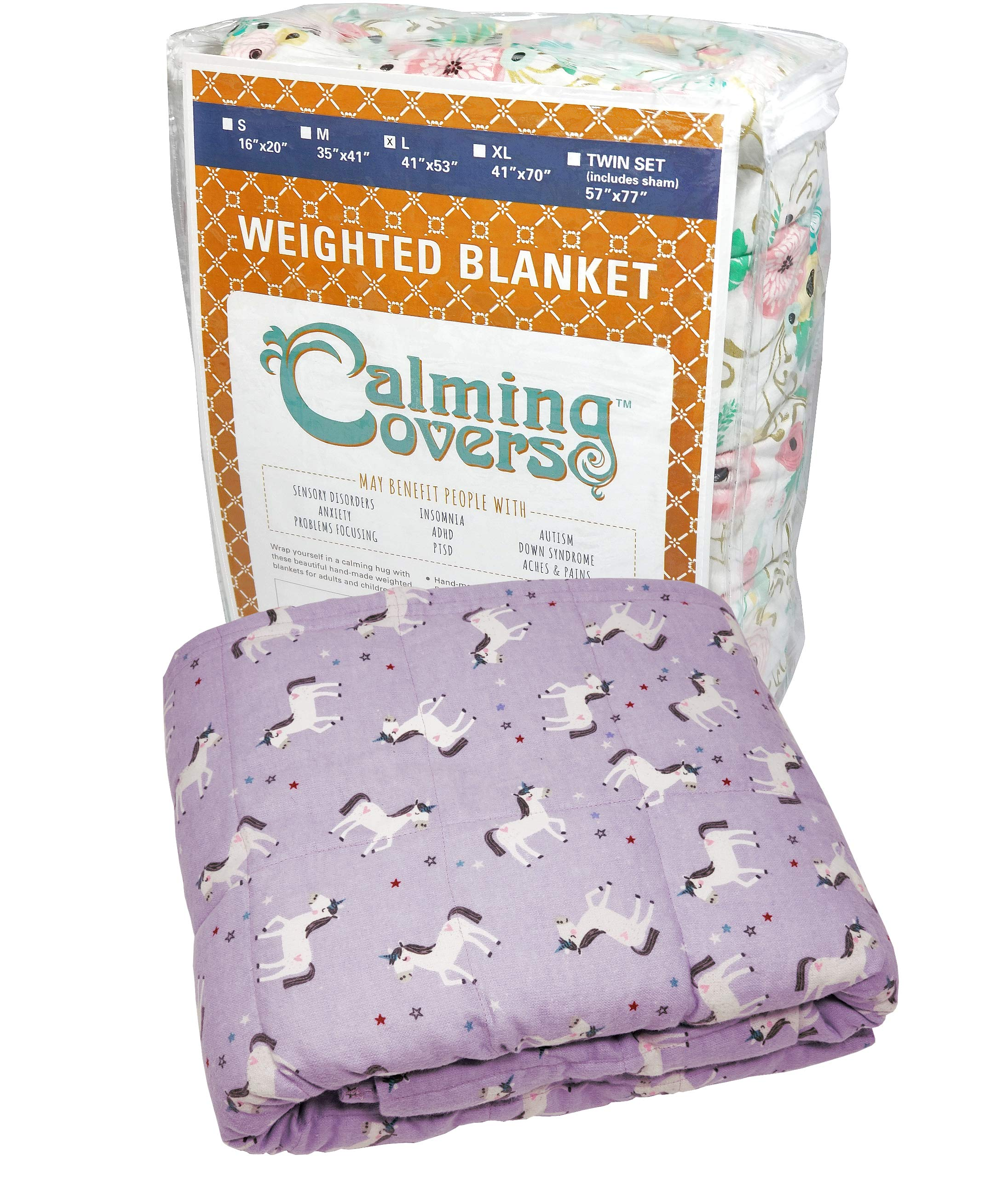 The Swanky Stitchery Designer Weighted Blanket kids (adult) | Dozens cute styles in many sizes | Gravity blankets may help relieve anxiety, stress & insomnia | Style - Purple Unicorn Flannel - 6 lbs