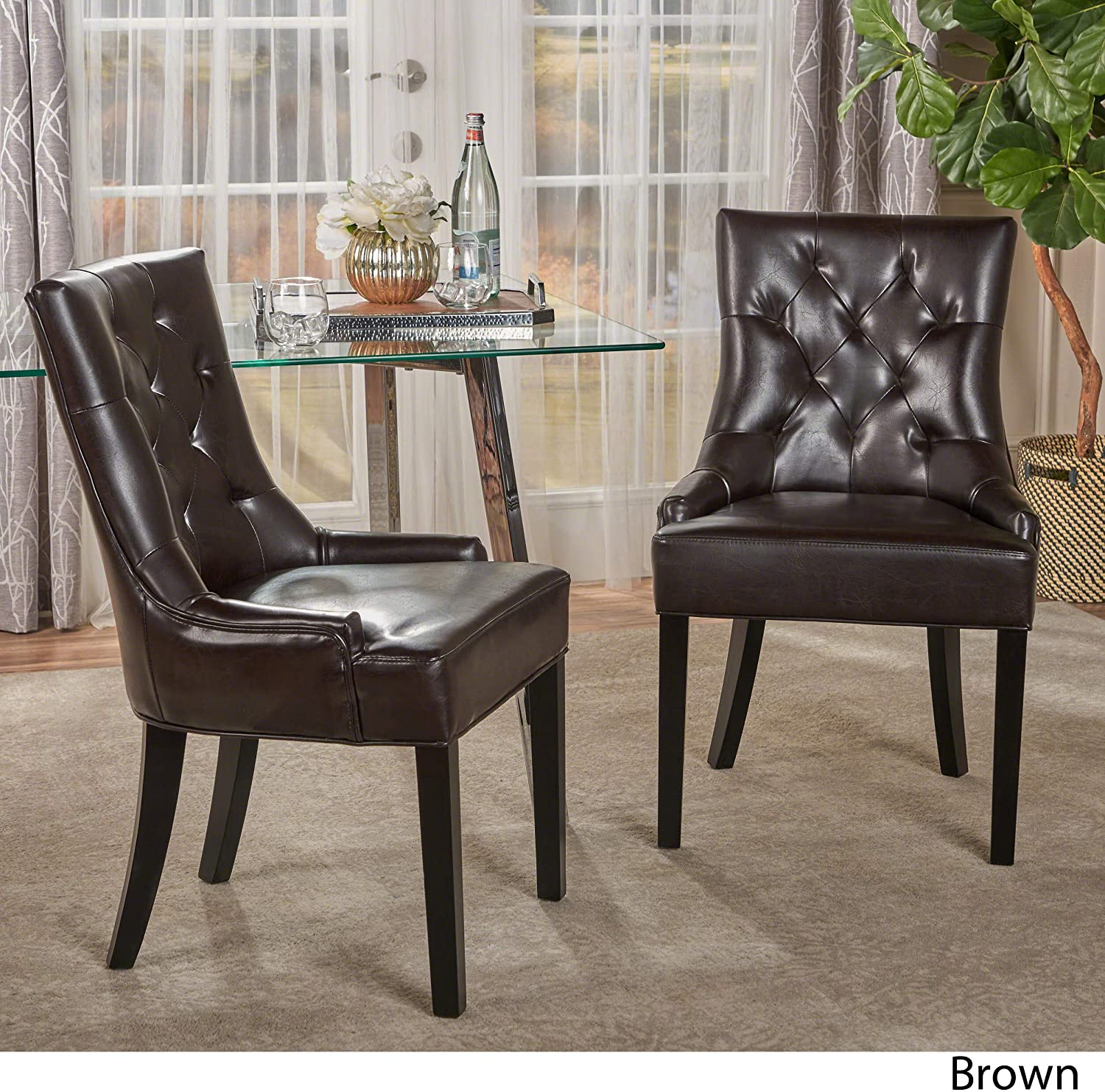 Brown Christopher Knight Home Stacy Leather Dining Chair