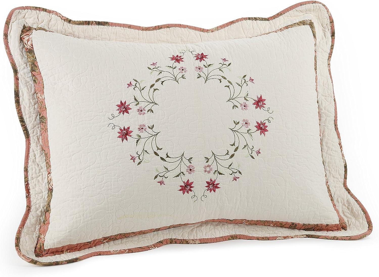 Modern Heirloom Collection Angela Cotton Filled Bedspread Standard Sham 20 By 26 Inch Home Kitchen