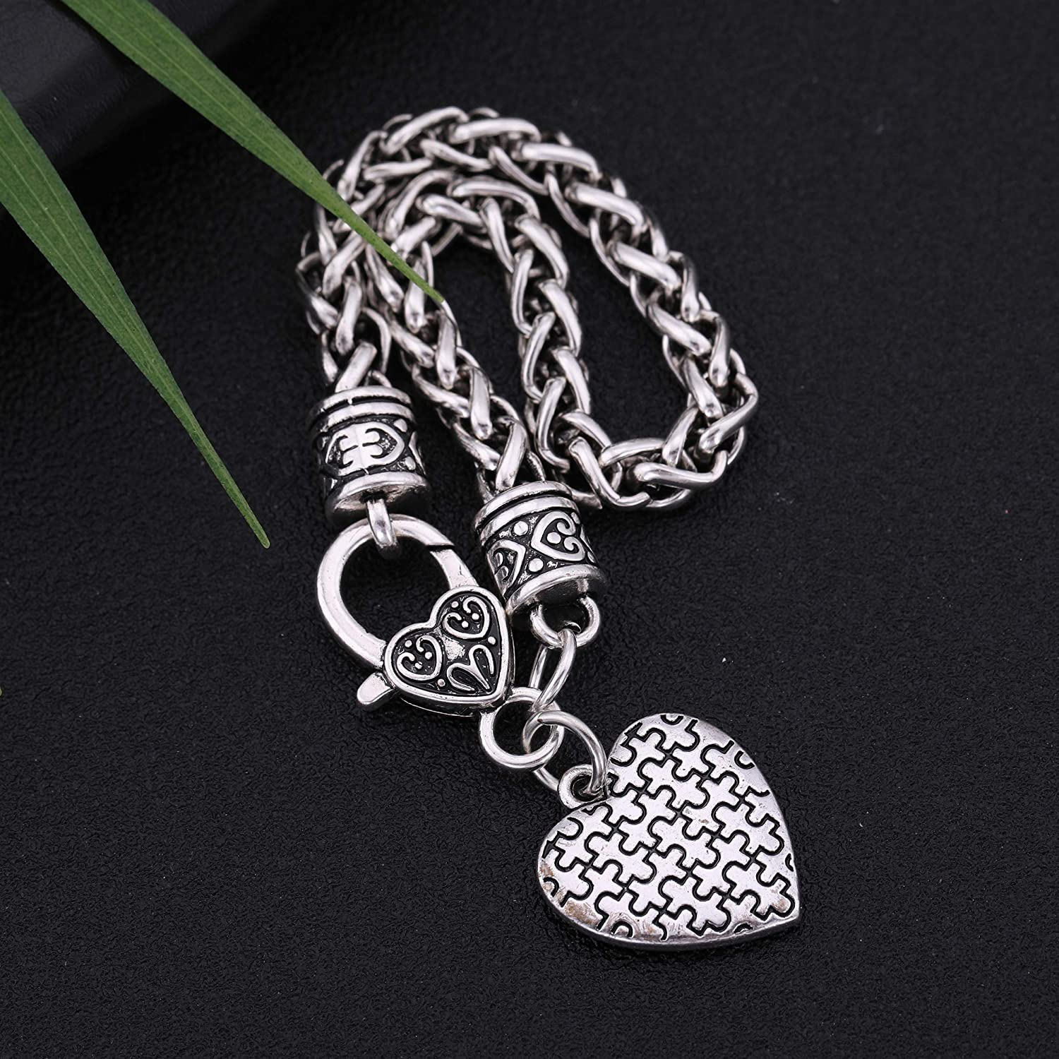 Heart Charm with Puzzles Patterm Wheat Chain Bracelet Vintage Jewelry