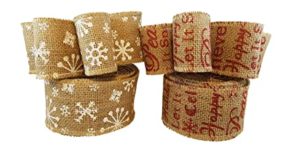 christmas holiday burlap ribbon with wired edge decorate wreaths gift wrap christmas tree