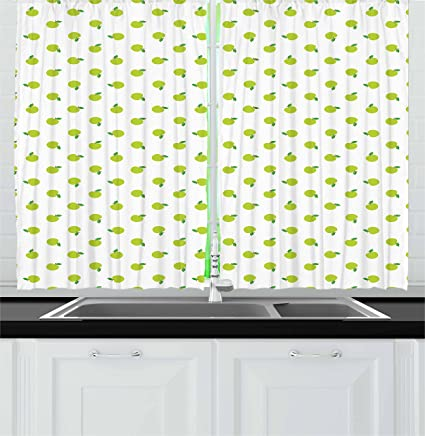 Amazon.com: Printawe Apple Green Kitchen Curtains, Apple ...