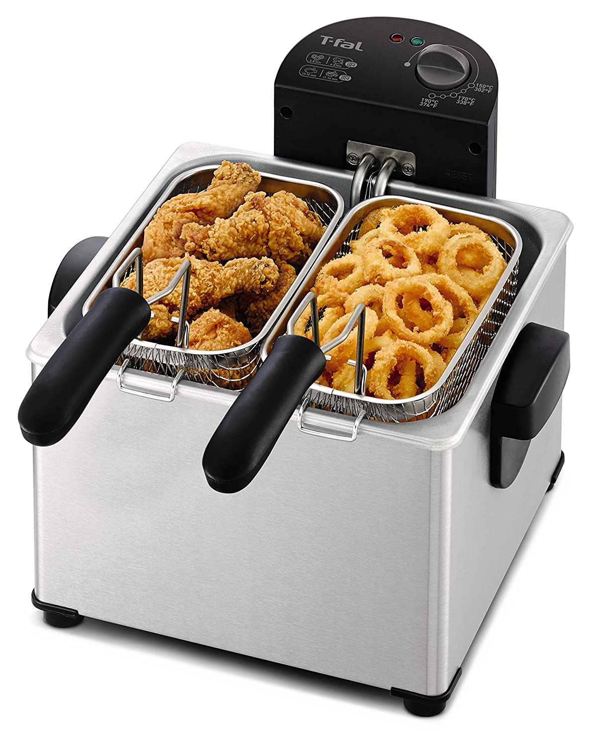 T-fal FR3900 Deep Fryer, Electric Deep Fryer, Stainless Steel Triple Basket Fryer, 4 Liter, Silver