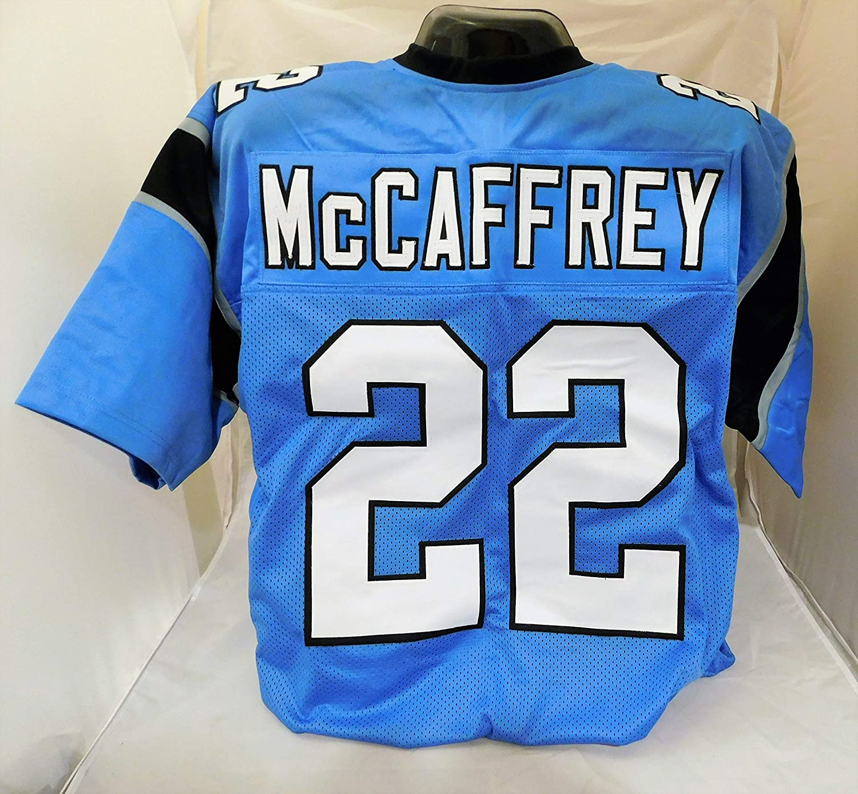 New Amazon Mccaffrey com Sports Xl logos Stitched No Christian Custom Carolina Unsigned Brands Panthers Jersey Collectibles Blue