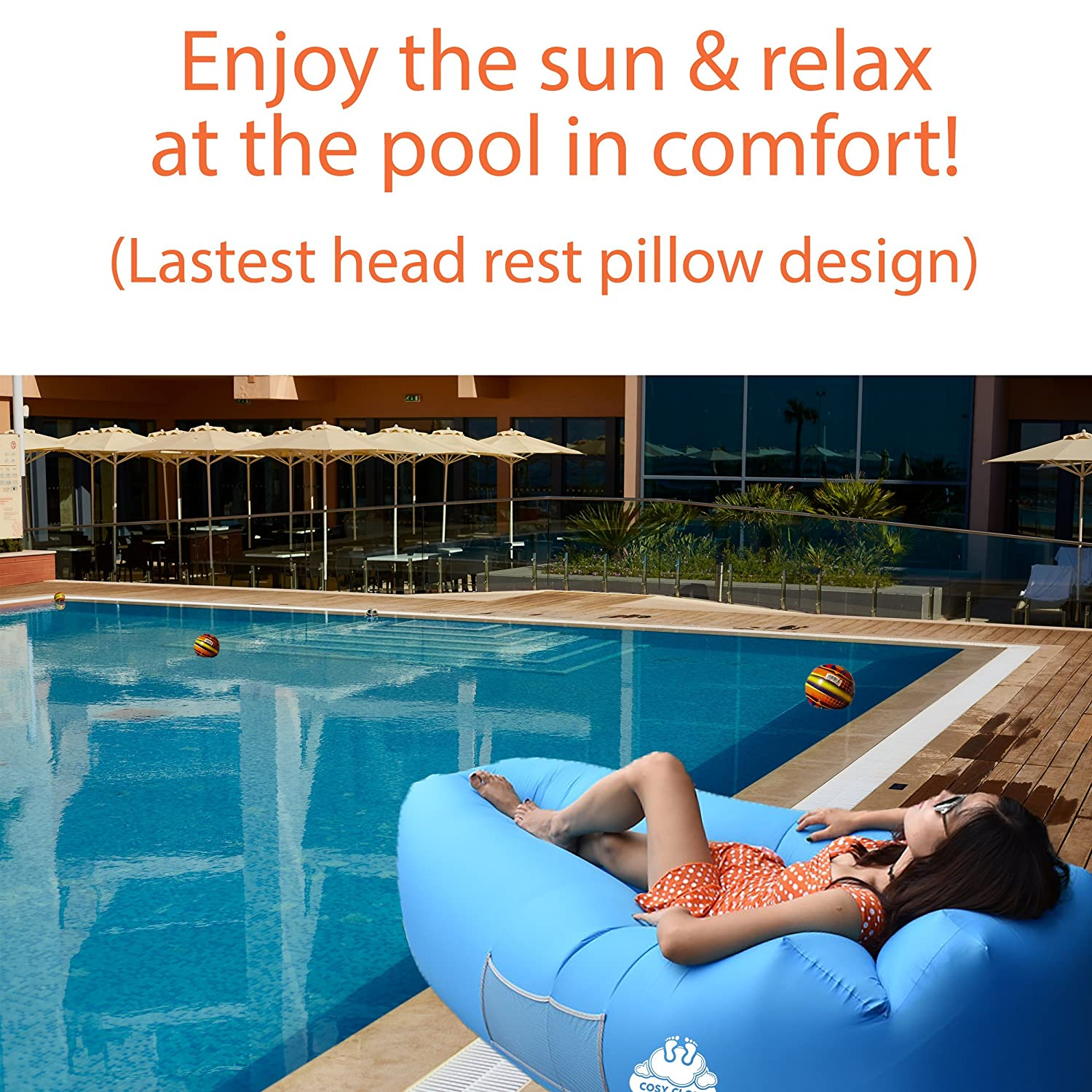 High Quality Inflatable Lounger Air Sofa Couch Bag   Portable Outdoor Furniture  Waterproof With Integrated Pillow   Blow Up Sun Beds Loungers For Pool  Beach Holiday ...