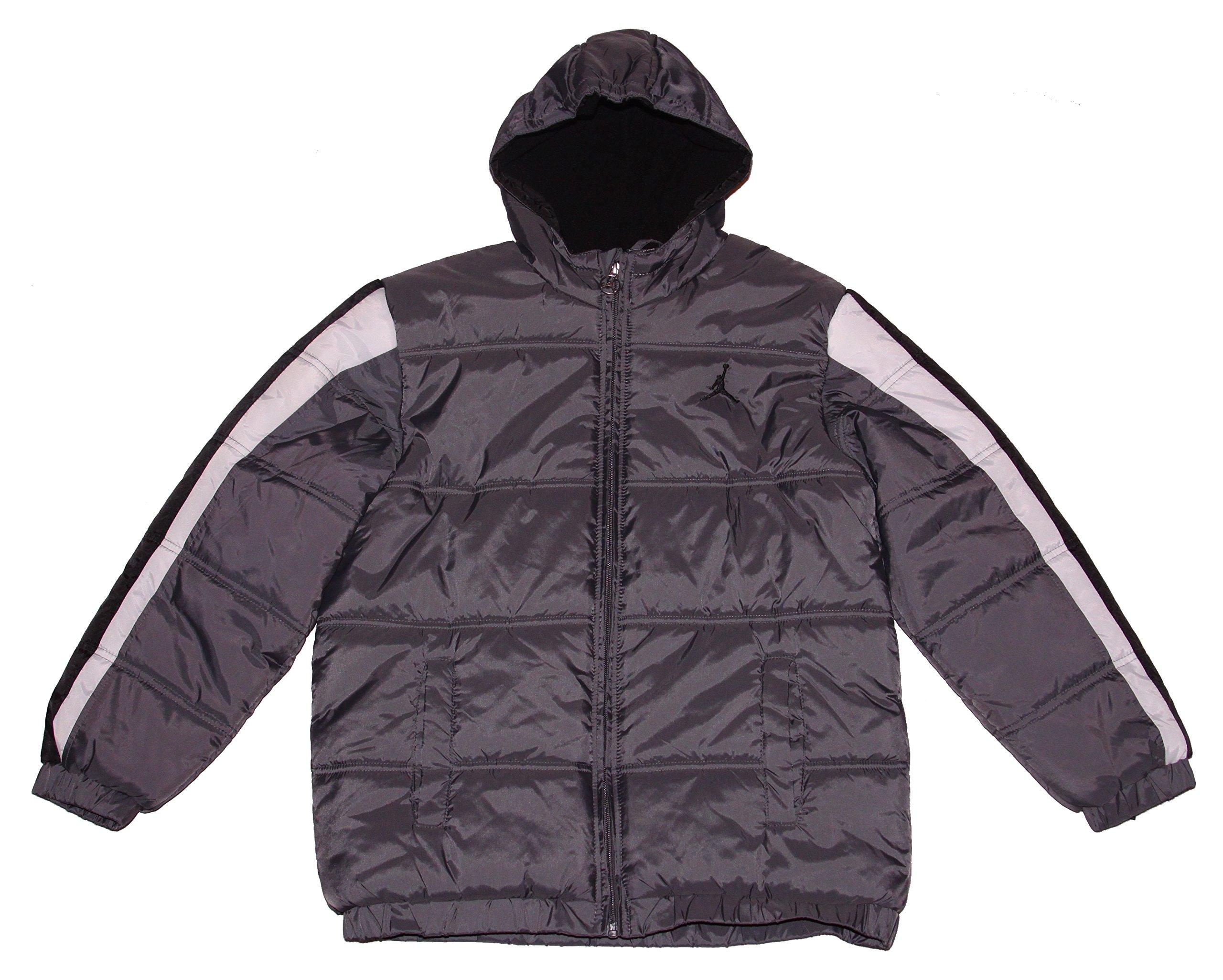 Nike Boy's Jordan Jumpman Hooded Puffy Jacket Large - Grey/Black/White by NIKE