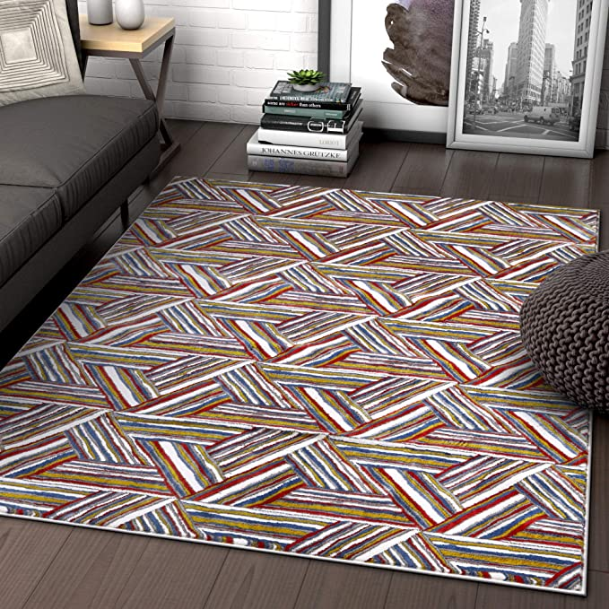 Amazon Com Multi Red Blue Yellow Gold Modern Geometric High Low Pile Area Rug 5x7 5 3 X 7 3 Triangle Art Deco Bright Home Kitchen