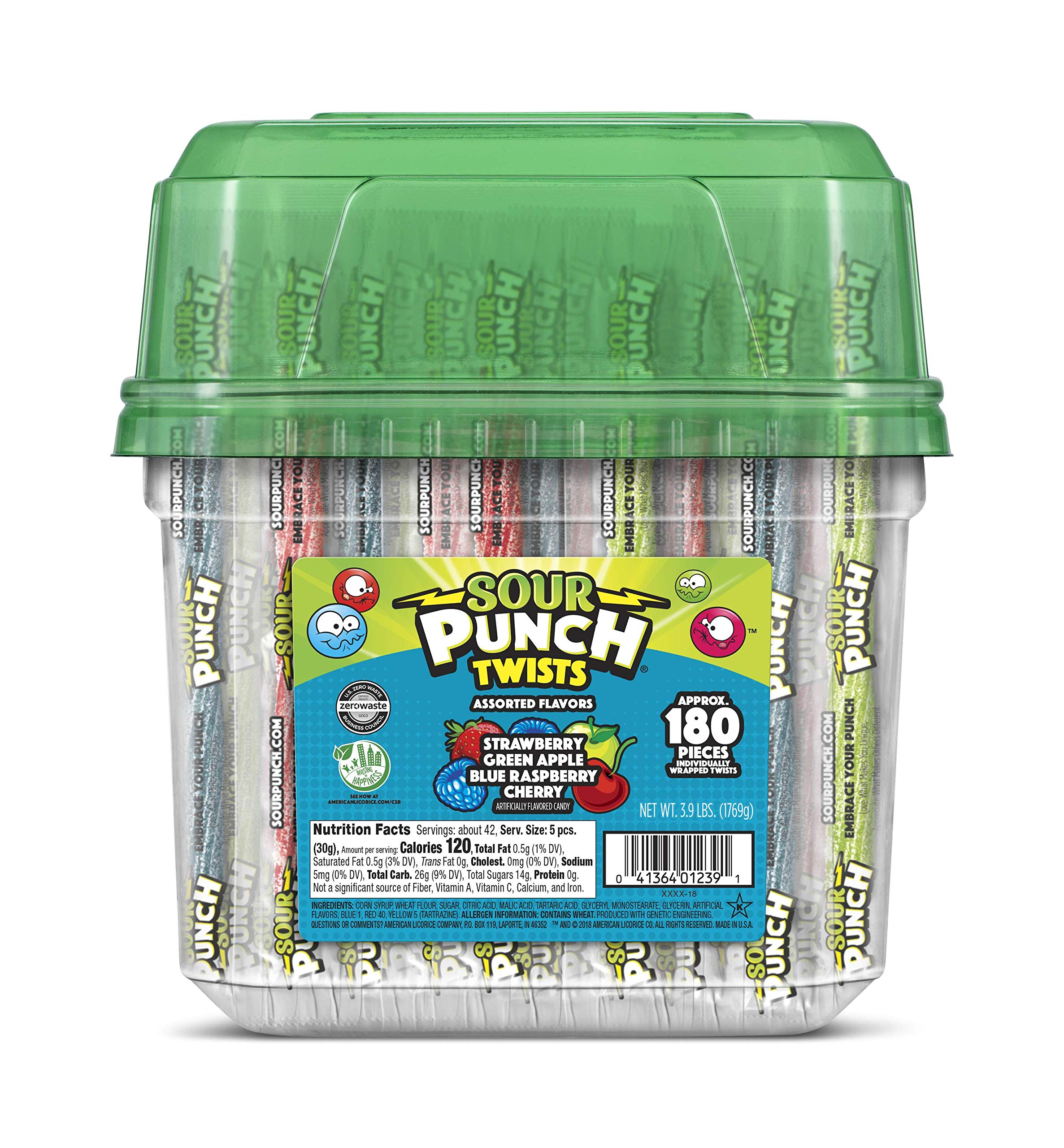 Sour Punch Twists, 6'' Individually Wrapped Soft & Chewy Candy, 4 Fruit Flavors, 3.9-Lb Tub by SOUTHERN STYLE NUTS