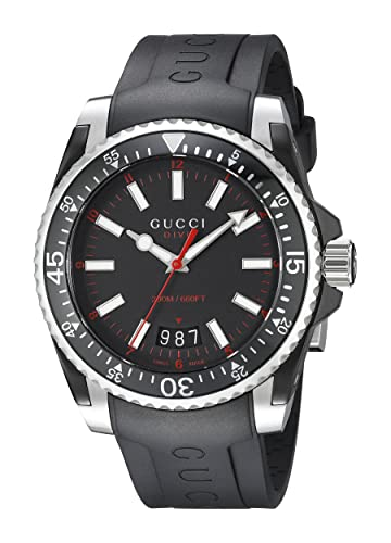 0700f9897a2 Buy Gucci Dive Stainless Steel Men s Watch with Black Rubber  Band(Model YA136303) Online at Low Prices in India - Amazon.in