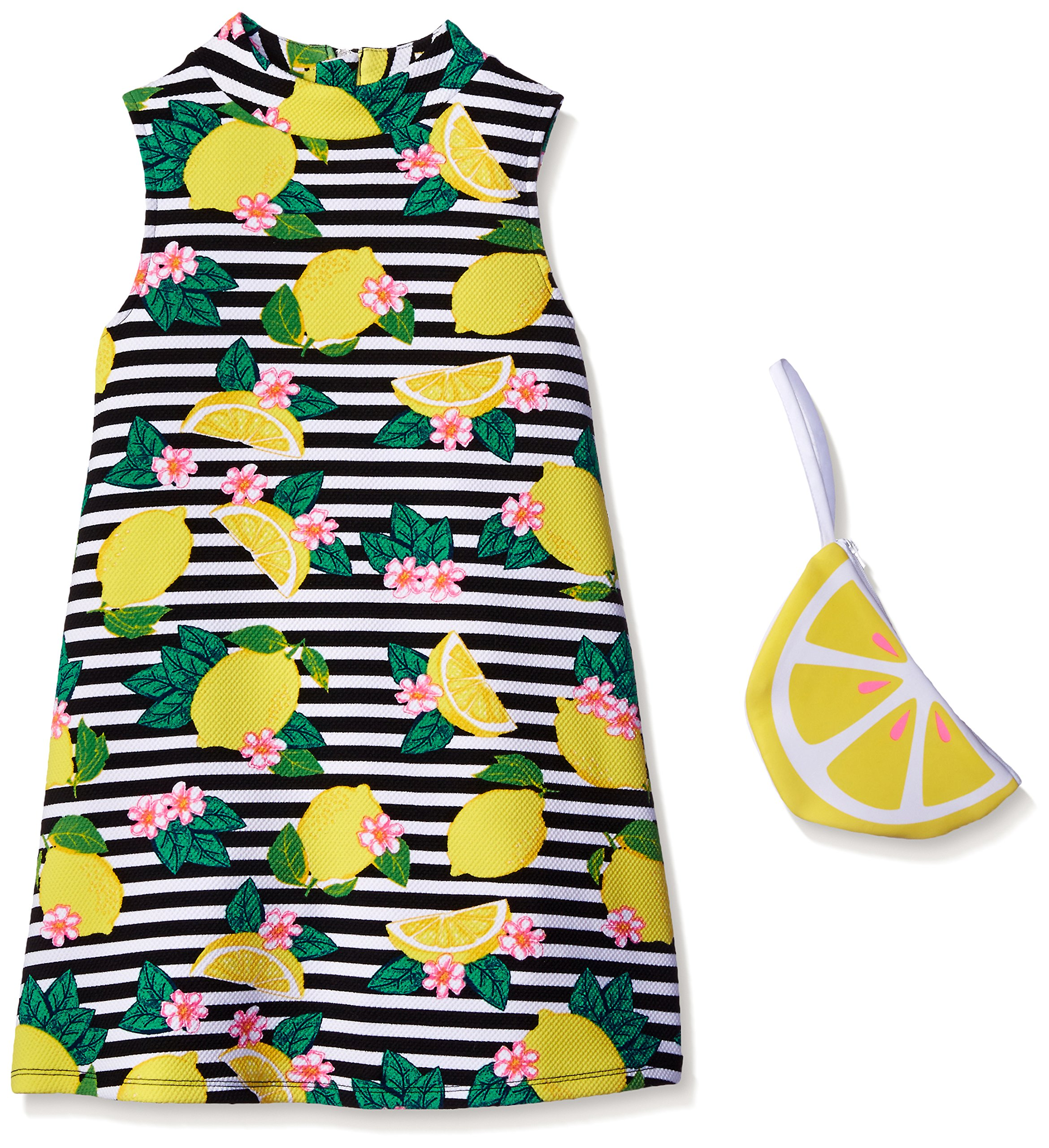 Pogo Club Little Girls Weekend In Newport Lemon Printed Textured Knit Dress With Bag Black LARGE/6X by Pogo Club