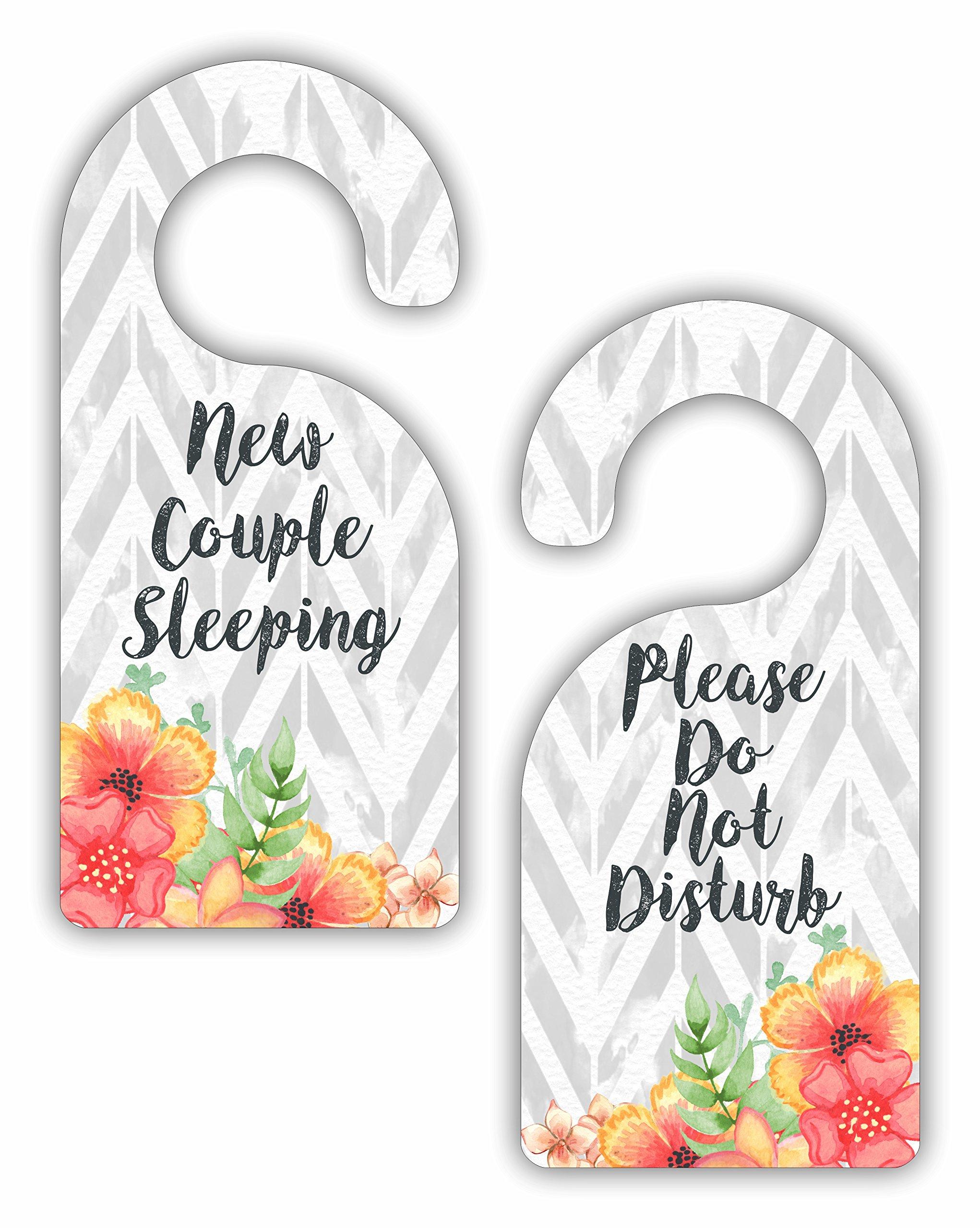 New Couple Sleeping - Please Do Not Disturb - Wedding Hotel / Bedroom / Room Door Sign Hanger Favor - Double Sided - Hard Plastic - Glossy Finish